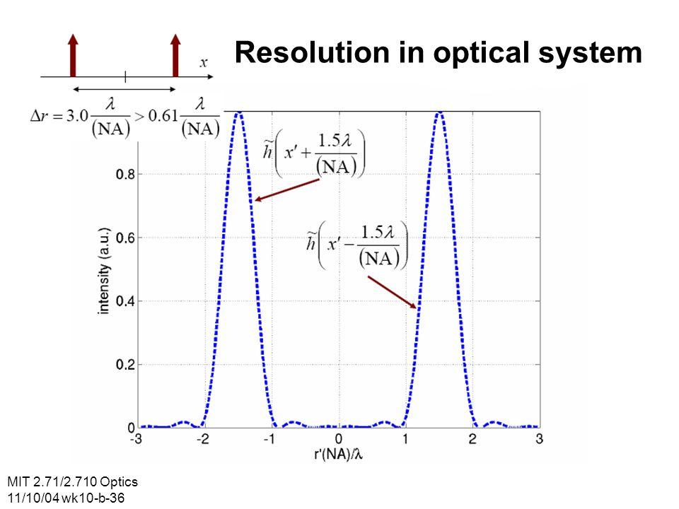 MIT 2.71/2.710 Optics 11/10/04 wk10-b-36 Resolution in optical system