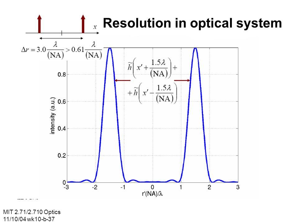 MIT 2.71/2.710 Optics 11/10/04 wk10-b-37 Resolution in optical system