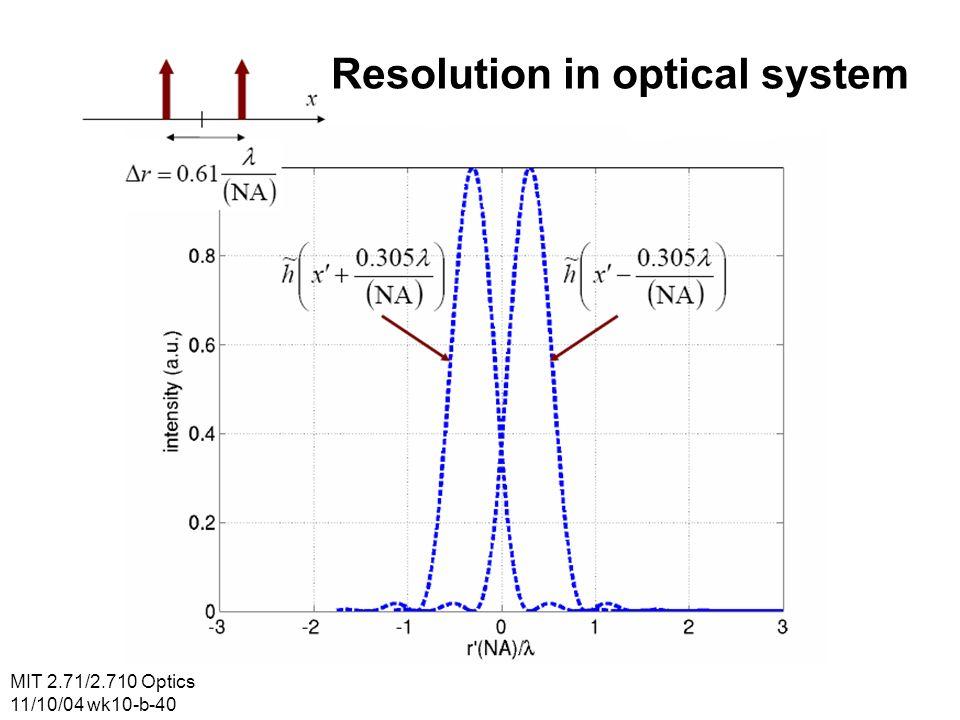 MIT 2.71/2.710 Optics 11/10/04 wk10-b-40 Resolution in optical system