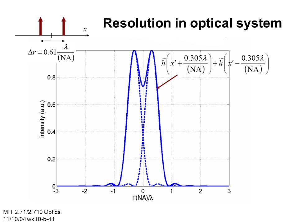 MIT 2.71/2.710 Optics 11/10/04 wk10-b-41 Resolution in optical system
