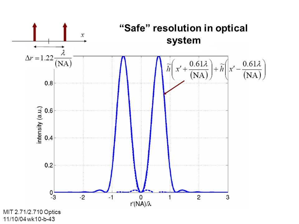 MIT 2.71/2.710 Optics 11/10/04 wk10-b-43 Safe resolution in optical system