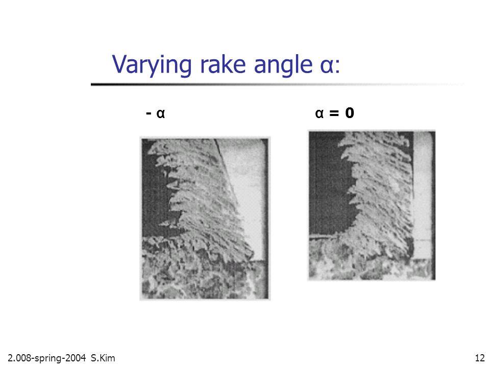 2.008-spring-2004 S.Kim 12 Varying rake angle α: - α α = 0