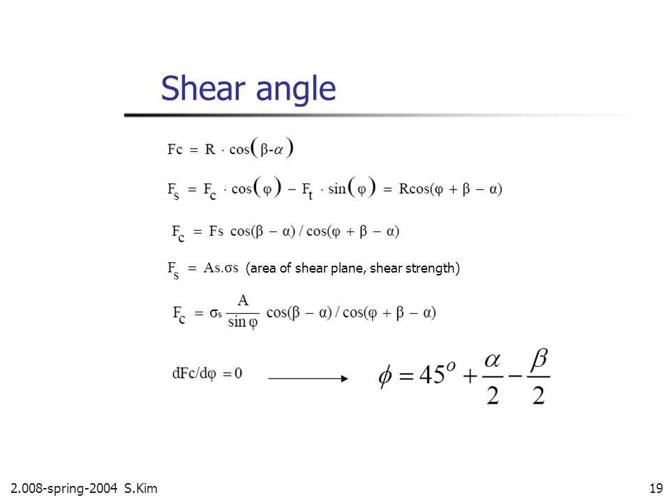 2.008-spring-2004 S.Kim 19 Shear angle (area of shear plane, shear strength)