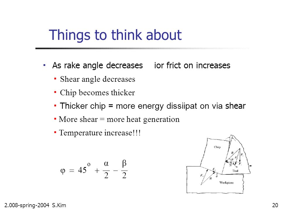 2.008-spring-2004 S.Kim 20 Things to think about As rake angle decreasesior frict on increases Shear angle decreases Chip becomes thicker Th icker chi