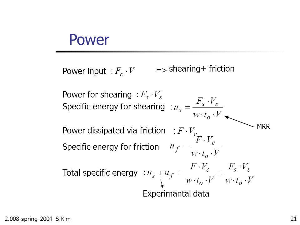 2.008-spring-2004 S.Kim 21 Power Power input shearing+ friction Power for shearing Specific energy for shearing Power dissipated via friction Specific