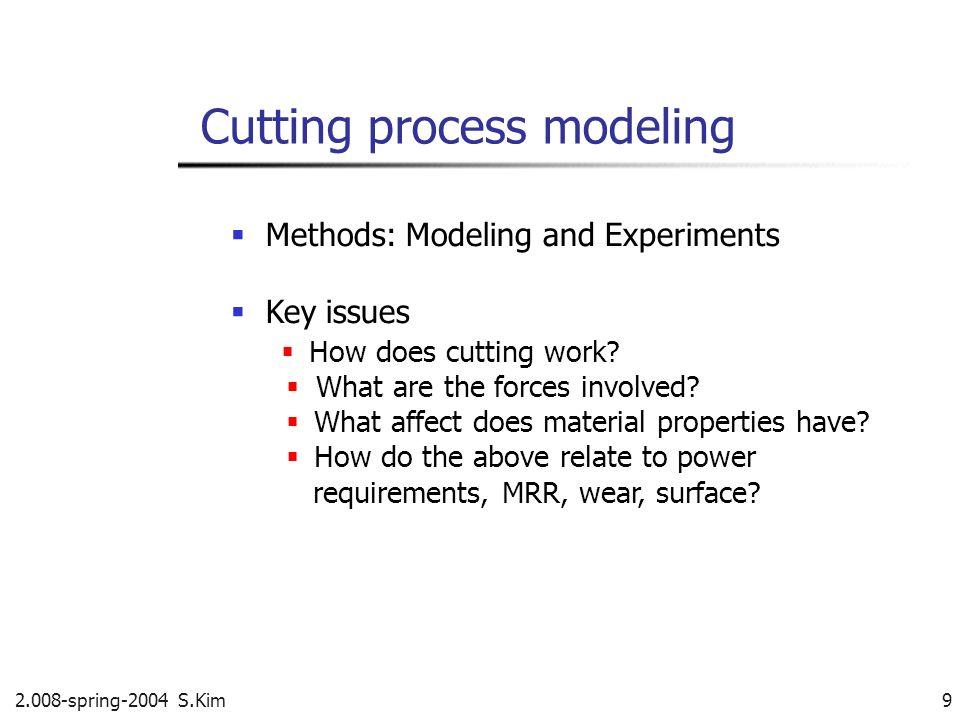 Orthogonal cutting in a lathe 2.008-spring-2004 S.Kim 10 Assume a hollow shaft Shear plane Shear angle T o : depth of cut Rake angle