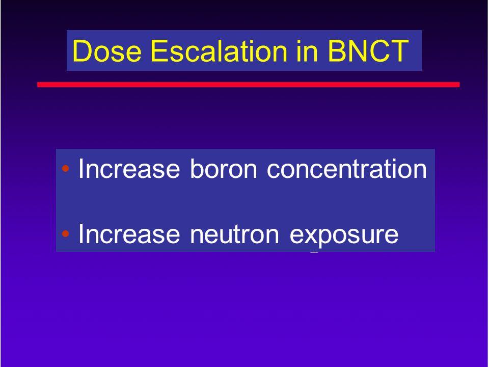 Dose Escalation in BNCT Increase boron concentration Increase neutron exposure