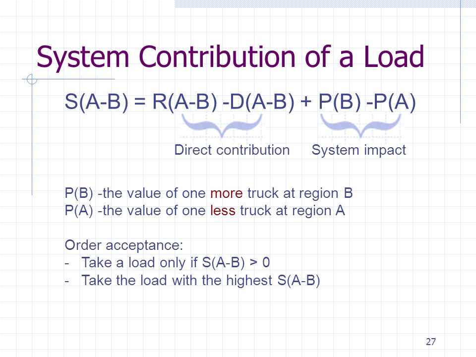 27 System Contribution of a Load S(A-B) = R(A-B) -D(A-B) + P(B) -P(A) Direct contribution System impact P(B) -the value of one more truck at region B