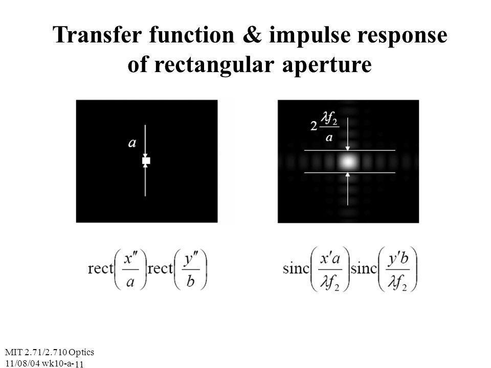 MIT 2.71/2.710 Optics 11/08/04 wk10-a- 11 Transfer function & impulse response of rectangular aperture