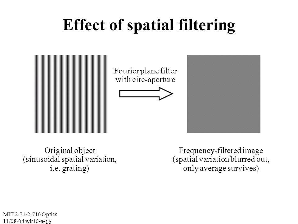 MIT 2.71/2.710 Optics 11/08/04 wk10-a- 16 Effect of spatial filtering Fourier plane filter with circ-aperture Original object (sinusoidal spatial variation, i.e.