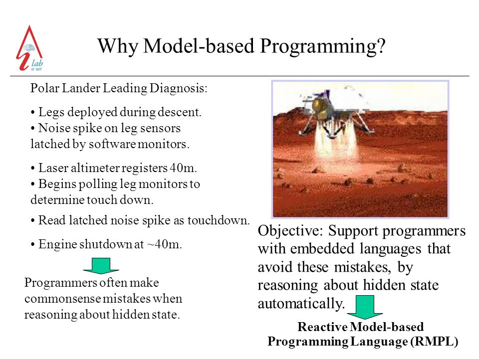Why Model-based Programming. Polar Lander Leading Diagnosis: Legs deployed during descent.
