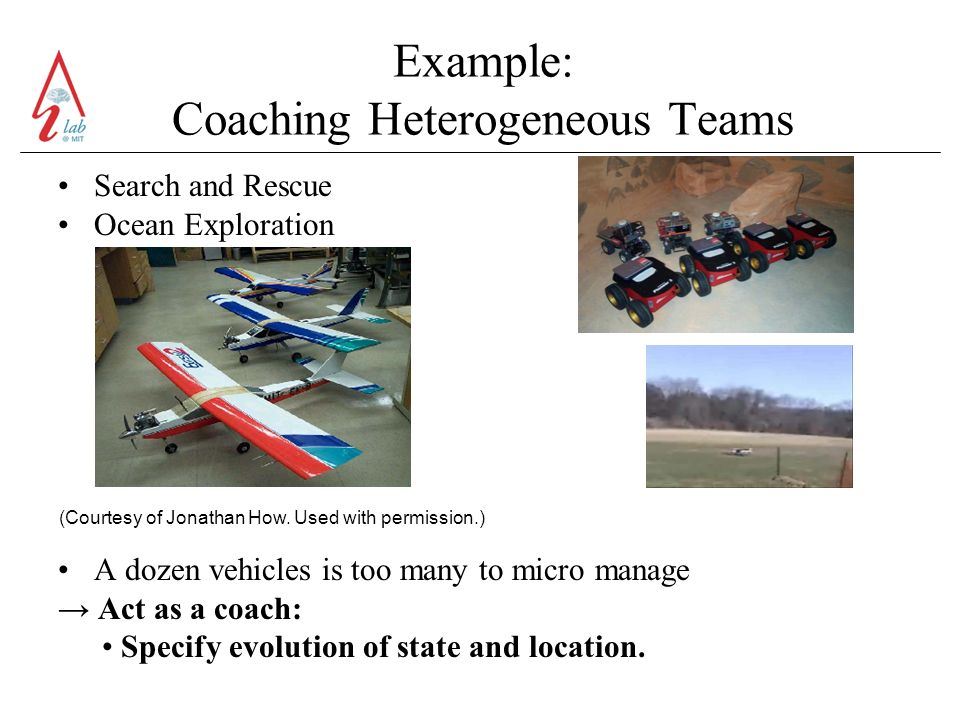 Example: Coaching Heterogeneous Teams Search and Rescue Ocean Exploration A dozen vehicles is too many to micro manage Act as a coach: Specify evolution of state and location.