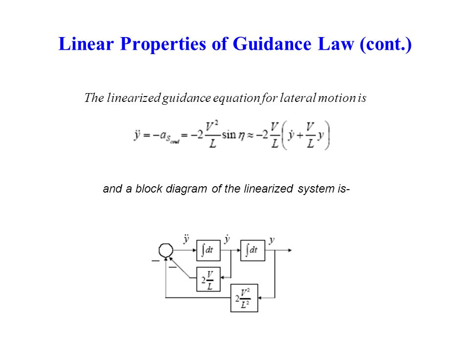 Linear Properties of Guidance Law (cont.) The linearized guidance equation for lateral motion is and a block diagram of the linearized system is-