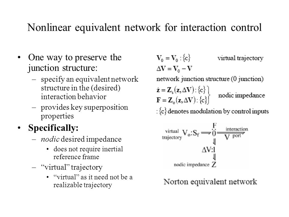 Nonlinear equivalent network for interaction control One way to preserve the junction structure: –specify an equivalent network structure in the (desi