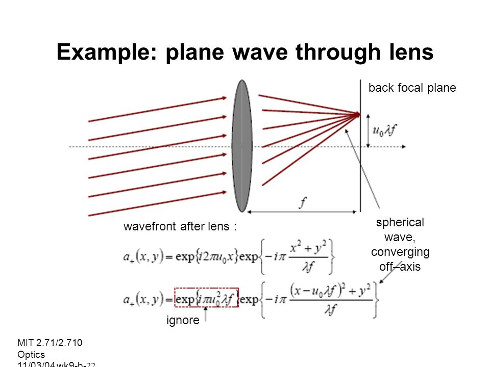 MIT 2.71/2.710 Optics 11/03/04 wk9-b-22 Example: plane wave through lens back focal plane spherical wave, converging off–axis wavefront after lens : i