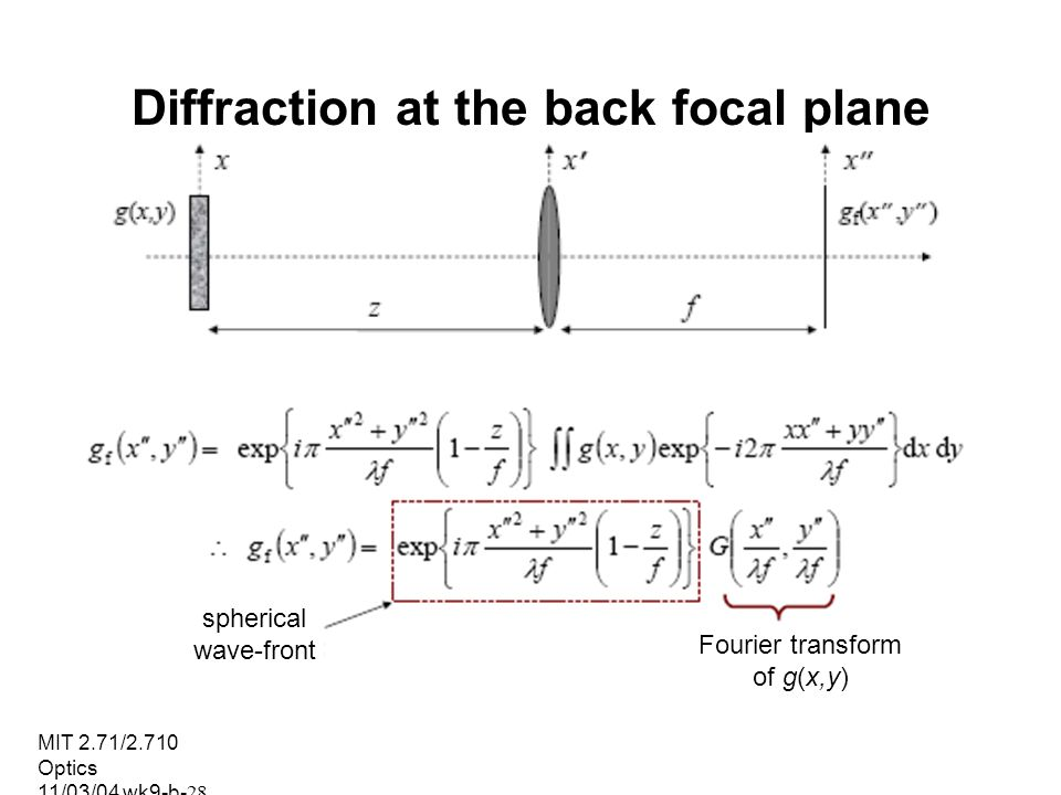 MIT 2.71/2.710 Optics 11/03/04 wk9-b-28 Diffraction at the back focal plane spherical wave-front Fourier transform of g(x,y)