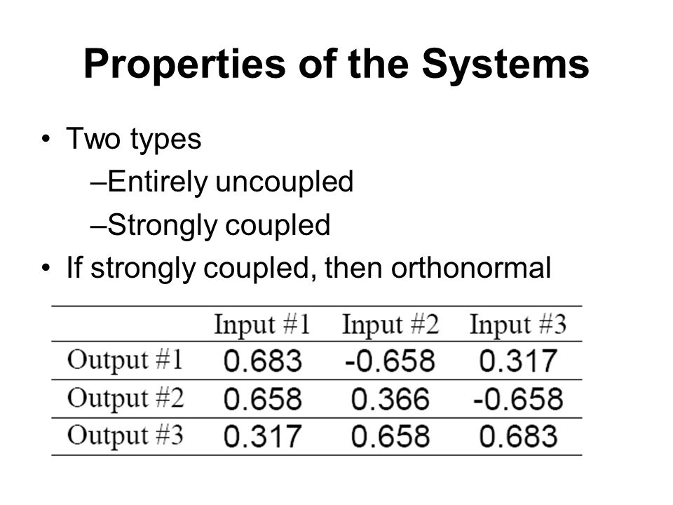 Properties of the Systems Two types –Entirely uncoupled –Strongly coupled If strongly coupled, then orthonormal