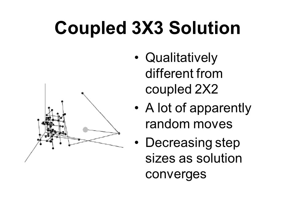 Coupled 3X3 Solution Qualitatively different from coupled 2X2 A lot of apparently random moves Decreasing step sizes as solution converges