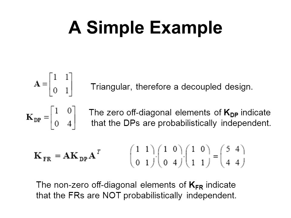 A Simple Example Triangular, therefore a decoupled design. The zero off-diagonal elements of K DP indicate that the DPs are probabilistically independ