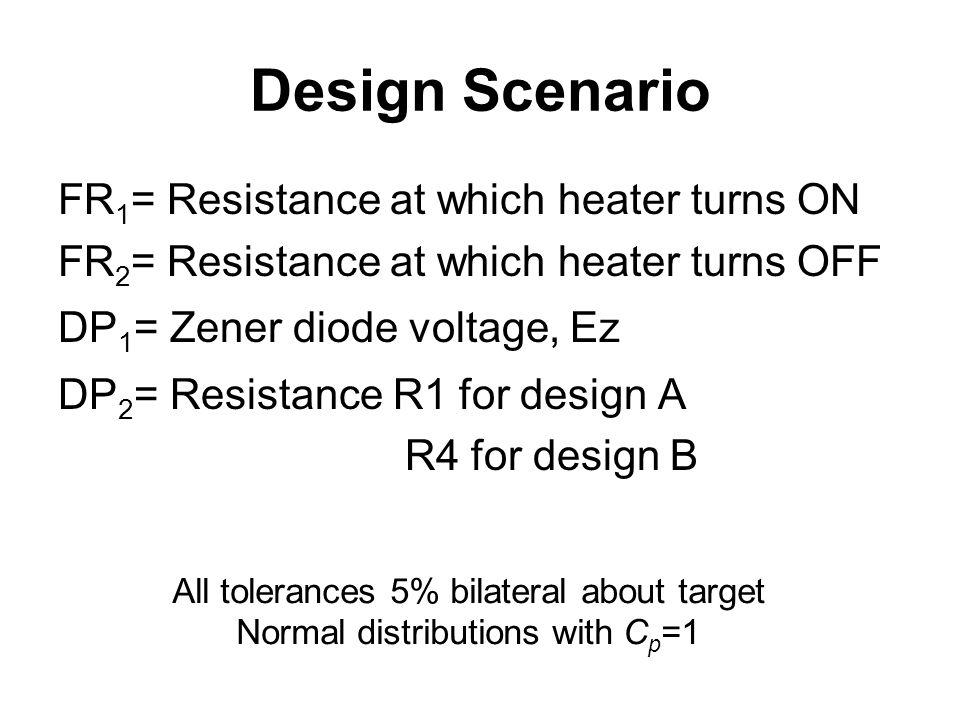 Design Scenario FR 1 = Resistance at which heater turns ON FR 2 = Resistance at which heater turns OFF DP 1 = Zener diode voltage, Ez DP 2 = Resistanc