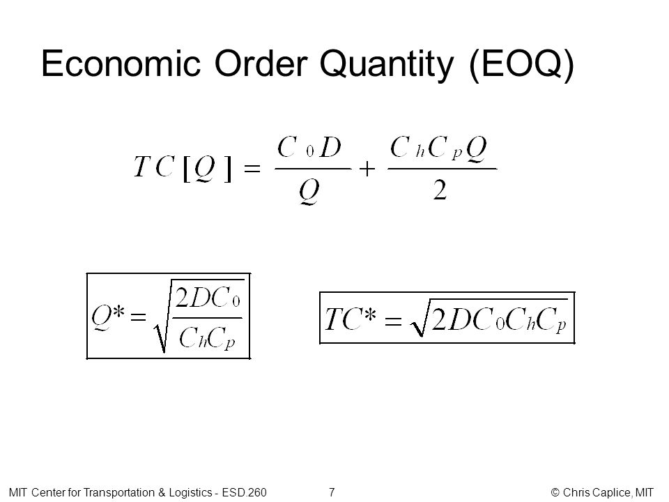 Economic Order Quantity (EOQ) MIT Center for Transportation & Logistics - ESD.260 7 © Chris Caplice, MIT
