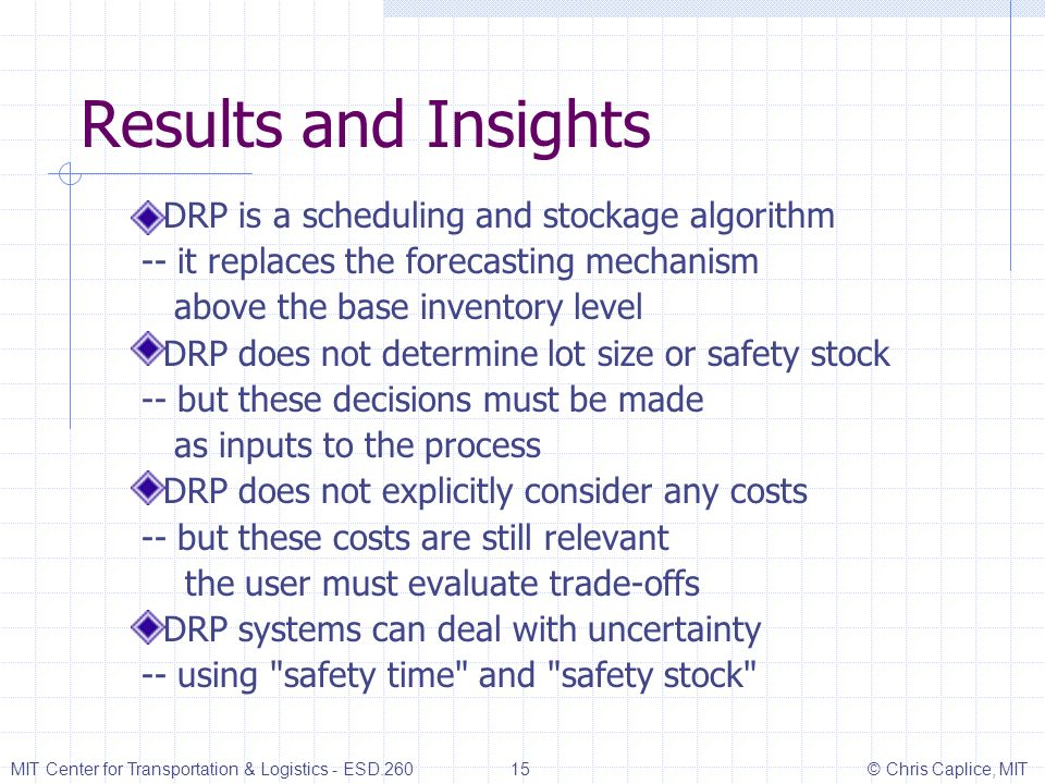 Results and Insights DRP is a scheduling and stockage algorithm -- it replaces the forecasting mechanism above the base inventory level DRP does not d