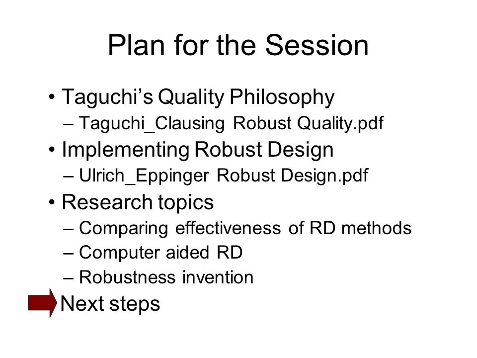 Plan for the Session Taguchis Quality Philosophy – Taguchi_Clausing Robust Quality.pdf Implementing Robust Design – Ulrich_Eppinger Robust Design.pdf