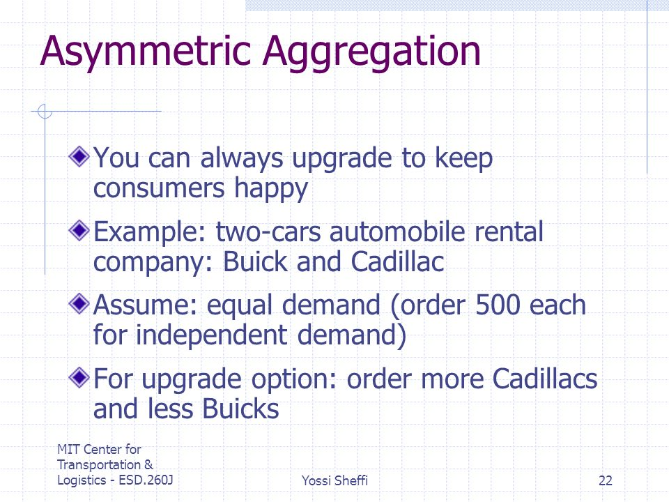 MIT Center for Transportation & Logistics - ESD.260JYossi Sheffi22 Asymmetric Aggregation You can always upgrade to keep consumers happy Example: two-cars automobile rental company: Buick and Cadillac Assume: equal demand (order 500 each for independent demand) For upgrade option: order more Cadillacs and less Buicks