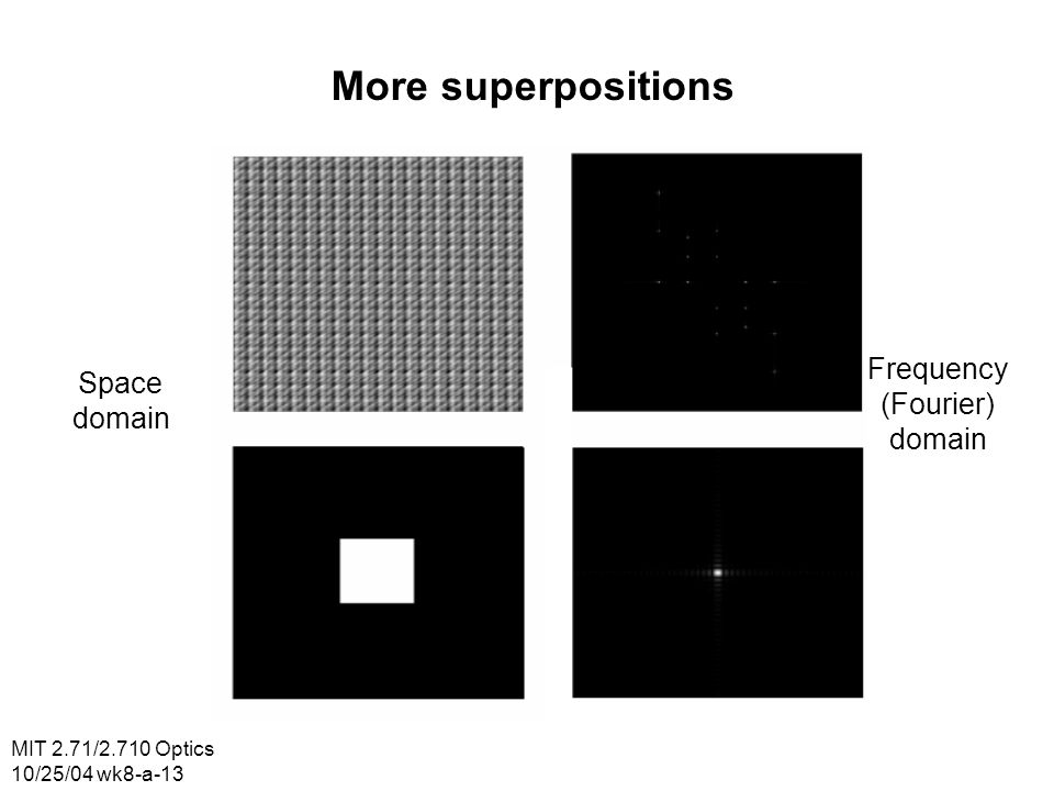 MIT 2.71/2.710 Optics 10/25/04 wk8-a-13 More superpositions Space domain Frequency (Fourier) domain