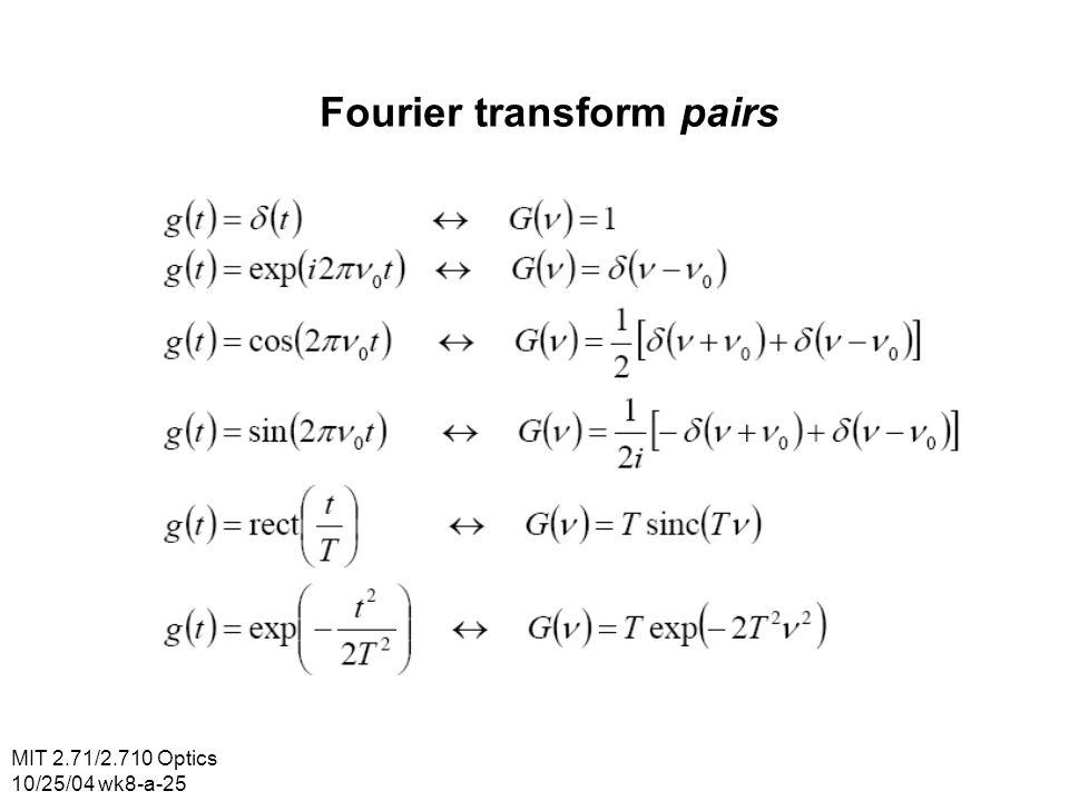 MIT 2.71/2.710 Optics 10/25/04 wk8-a-25 Fourier transform pairs