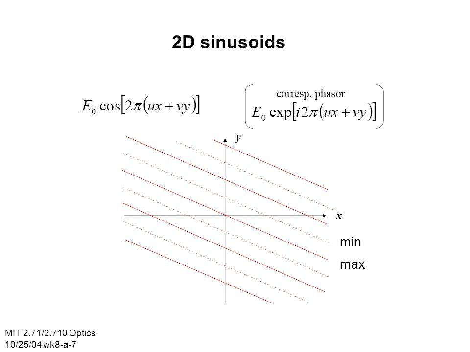 MIT 2.71/2.710 Optics 10/25/04 wk8-a-7 2D sinusoids min max