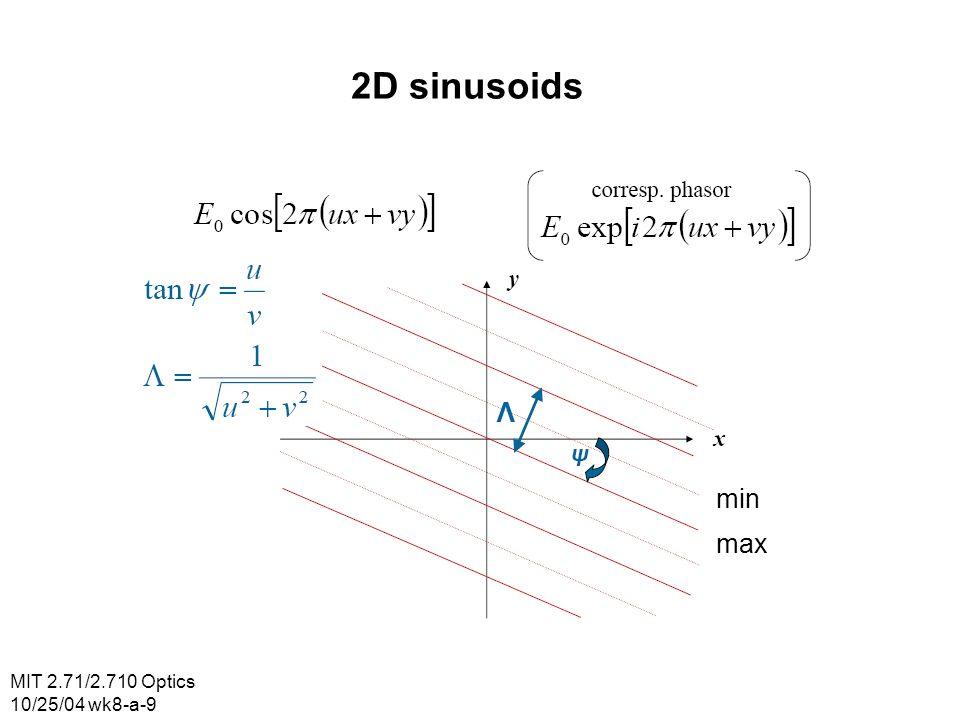 MIT 2.71/2.710 Optics 10/25/04 wk8-a-9 2D sinusoids min max