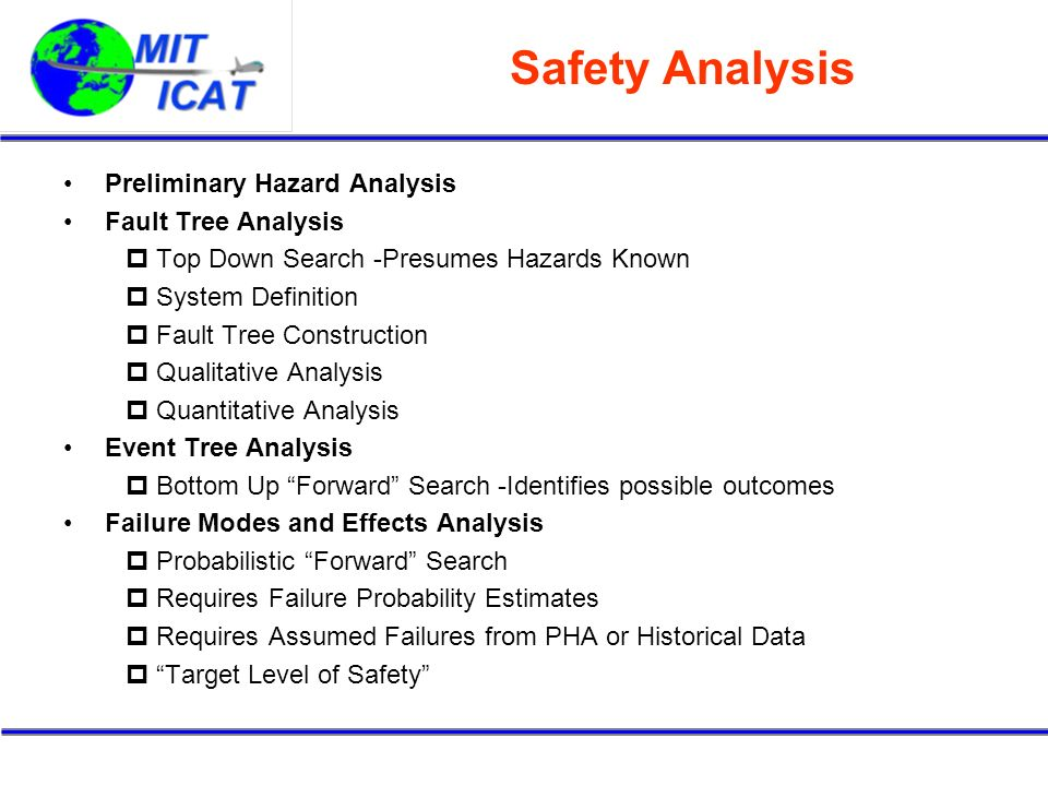 Safety Analysis Preliminary Hazard Analysis Fault Tree Analysis Top Down Search -Presumes Hazards Known System Definition Fault Tree Construction Qualitative Analysis Quantitative Analysis Event Tree Analysis Bottom Up Forward Search -Identifies possible outcomes Failure Modes and Effects Analysis Probabilistic Forward Search Requires Failure Probability Estimates Requires Assumed Failures from PHA or Historical Data Target Level of Safety