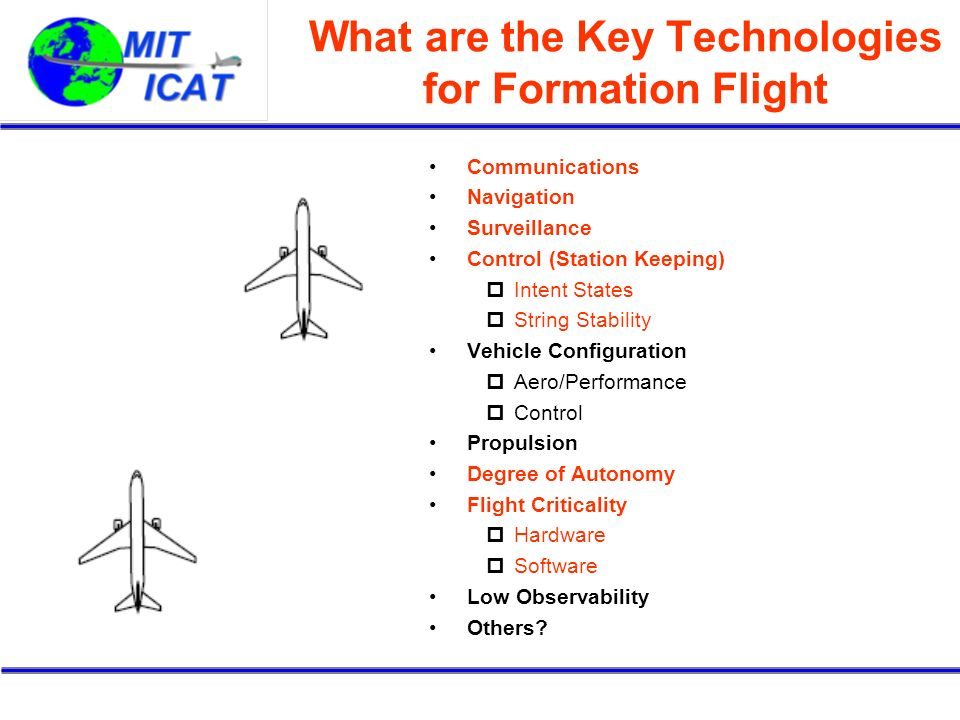 What are the Key Technologies for Formation Flight Communications Navigation Surveillance Control (Station Keeping) Intent States String Stability Vehicle Configuration Aero/Performance Control Propulsion Degree of Autonomy Flight Criticality Hardware Software Low Observability Others