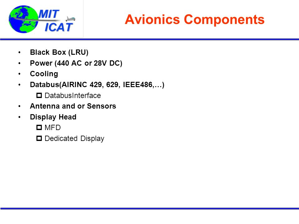 Avionics Components Black Box (LRU) Power (440 AC or 28V DC) Cooling Databus(AIRINC 429, 629, IEEE486,…) DatabusInterface Antenna and or Sensors Display Head MFD Dedicated Display