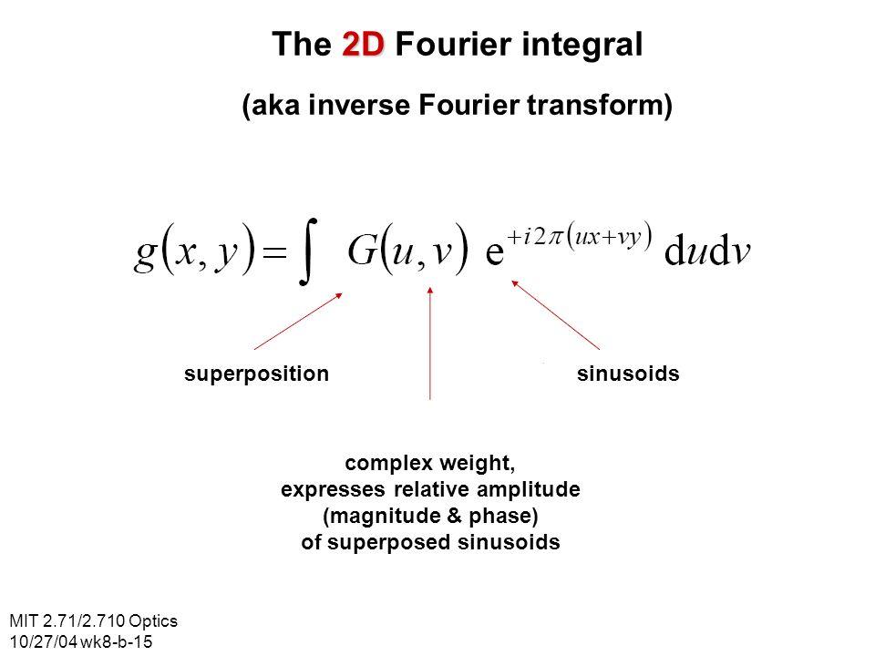 MIT 2.71/2.710 Optics 10/27/04 wk8-b-15 2D The 2D Fourier integral (aka inverse Fourier transform) superpositionsinusoids complex weight, expresses re