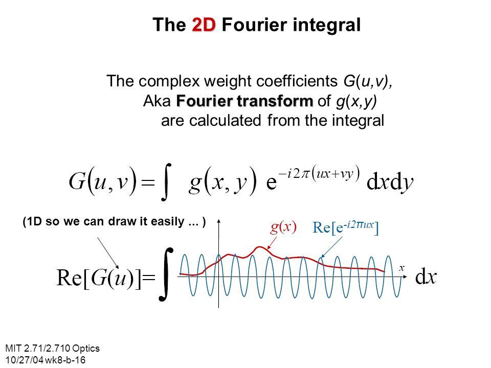 MIT 2.71/2.710 Optics 10/27/04 wk8-b-16 2D The 2D Fourier integral The complex weight coefficients G(u,v), Fourier transform Aka Fourier transform of
