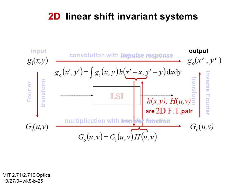 MIT 2.71/2.710 Optics 10/27/04 wk8-b-25 2D 2D linear shift invariant systems input output Fourier transform Inverse Fourier transform impulse response