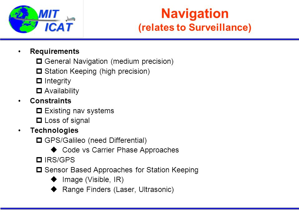 Navigation (relates to Surveillance) Requirements General Navigation (medium precision) Station Keeping (high precision) Integrity Availability Constr