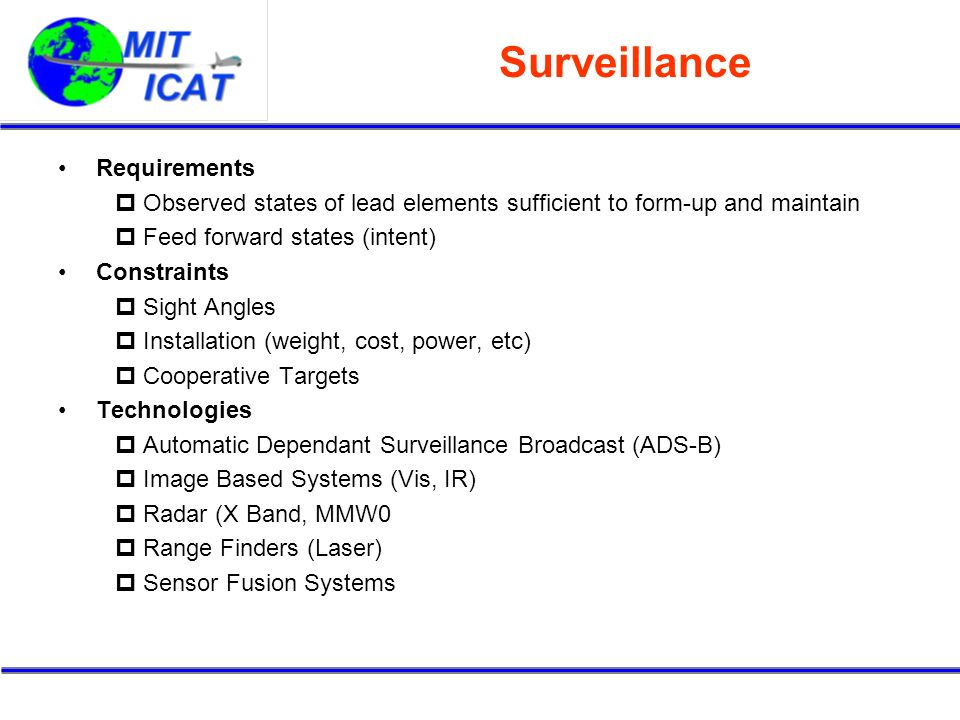 Surveillance Requirements Observed states of lead elements sufficient to form-up and maintain Feed forward states (intent) Constraints Sight Angles In