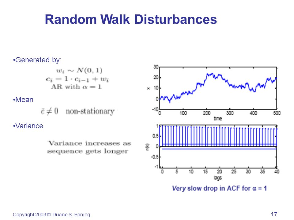 Copyright 2003 © Duane S. Boning. 17 Random Walk Disturbances Generated by: Mean Variance