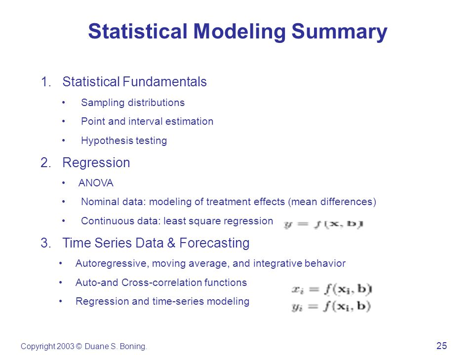 Copyright 2003 © Duane S. Boning. 25 Statistical Modeling Summary 1. Statistical Fundamentals Sampling distributions Point and interval estimation Hyp