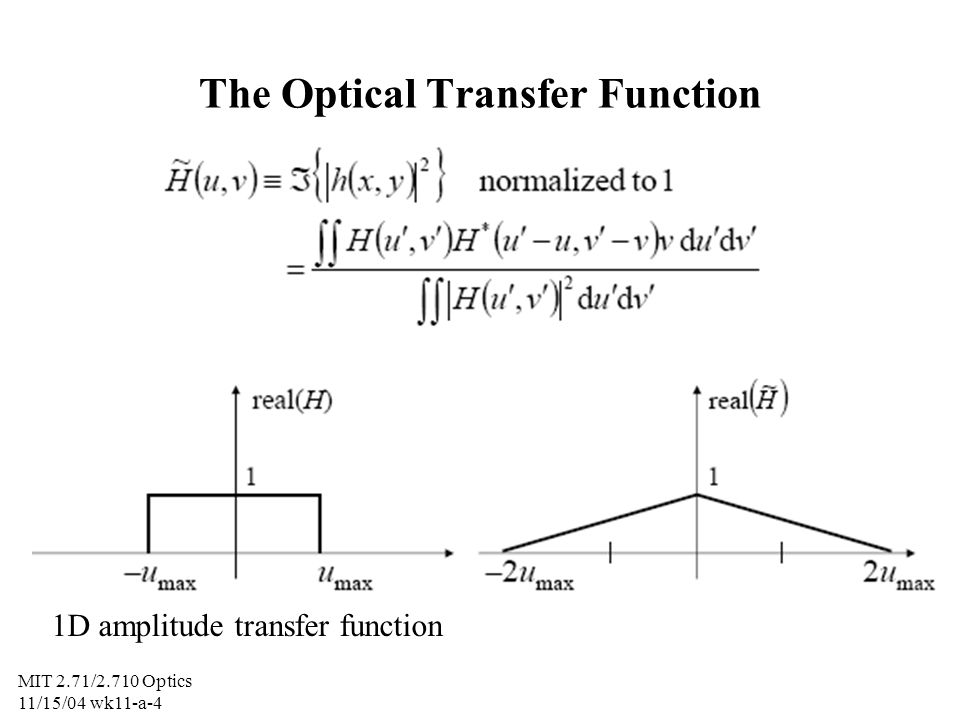 MIT 2.71/2.710 Optics 11/15/04 wk11-a-5 Amplitude transfer function and MTF of circular aperture in a 4F system physical aperture (pupil function)