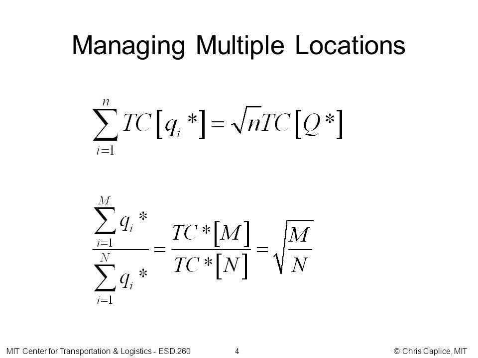 Managing Multiple Locations MIT Center for Transportation & Logistics - ESD.260 4 © Chris Caplice, MIT