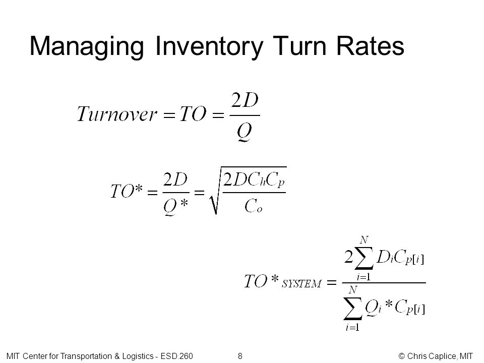 Managing Inventory Turn Rates MIT Center for Transportation & Logistics - ESD.260 8 © Chris Caplice, MIT