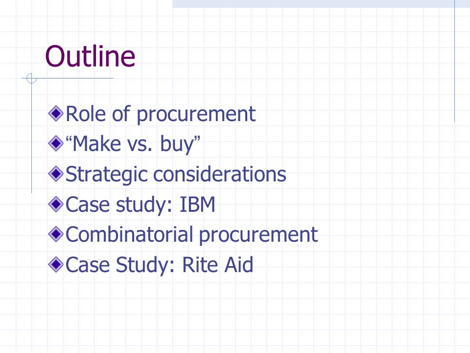 Outline Role of procurement Make vs.