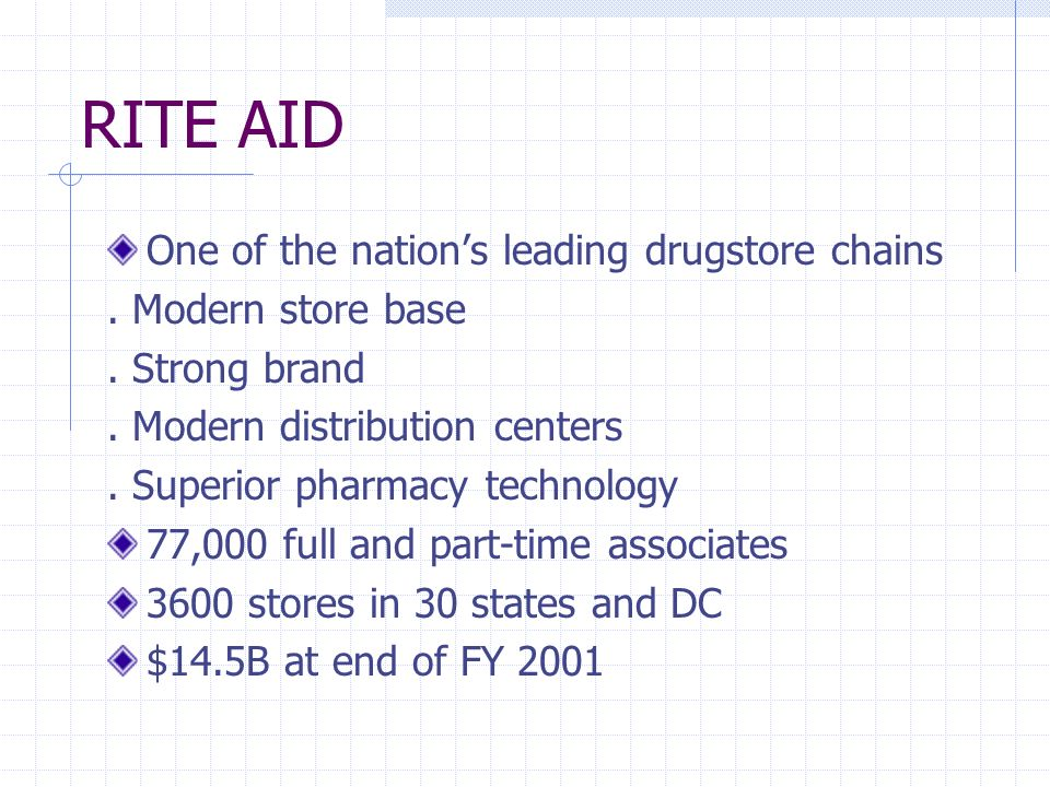 RITE AID One of the nations leading drugstore chains.