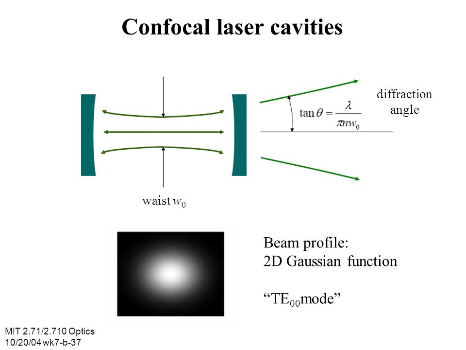 MIT 2.71/2.710 Optics 10/20/04 wk7-b-37 Confocal laser cavities diffraction angle waist w 0 Beam profile: 2D Gaussian function TE 00 mode