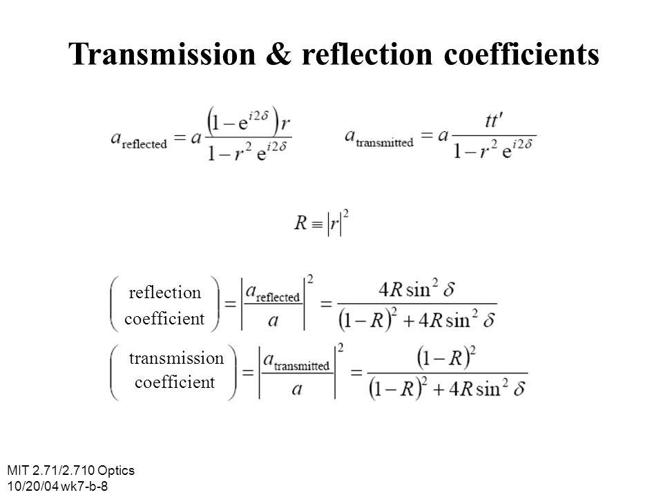 MIT 2.71/2.710 Optics 10/20/04 wk7-b-9 Transmission & reflection vs path Reflection Transmission Path delay