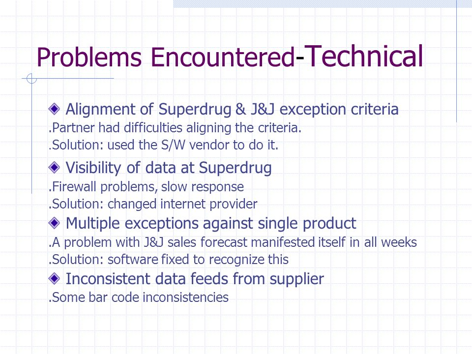 Problems Encountered- Technical Alignment of Superdrug & J&J exception criteria.Partner had difficulties aligning the criteria.. Solution: used the S/